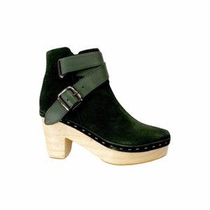 Free People Bungalow Clog Boot Emerald Green Suede